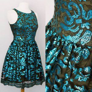Teal Olive Green Sequin Crochet Scallop Lace Dress